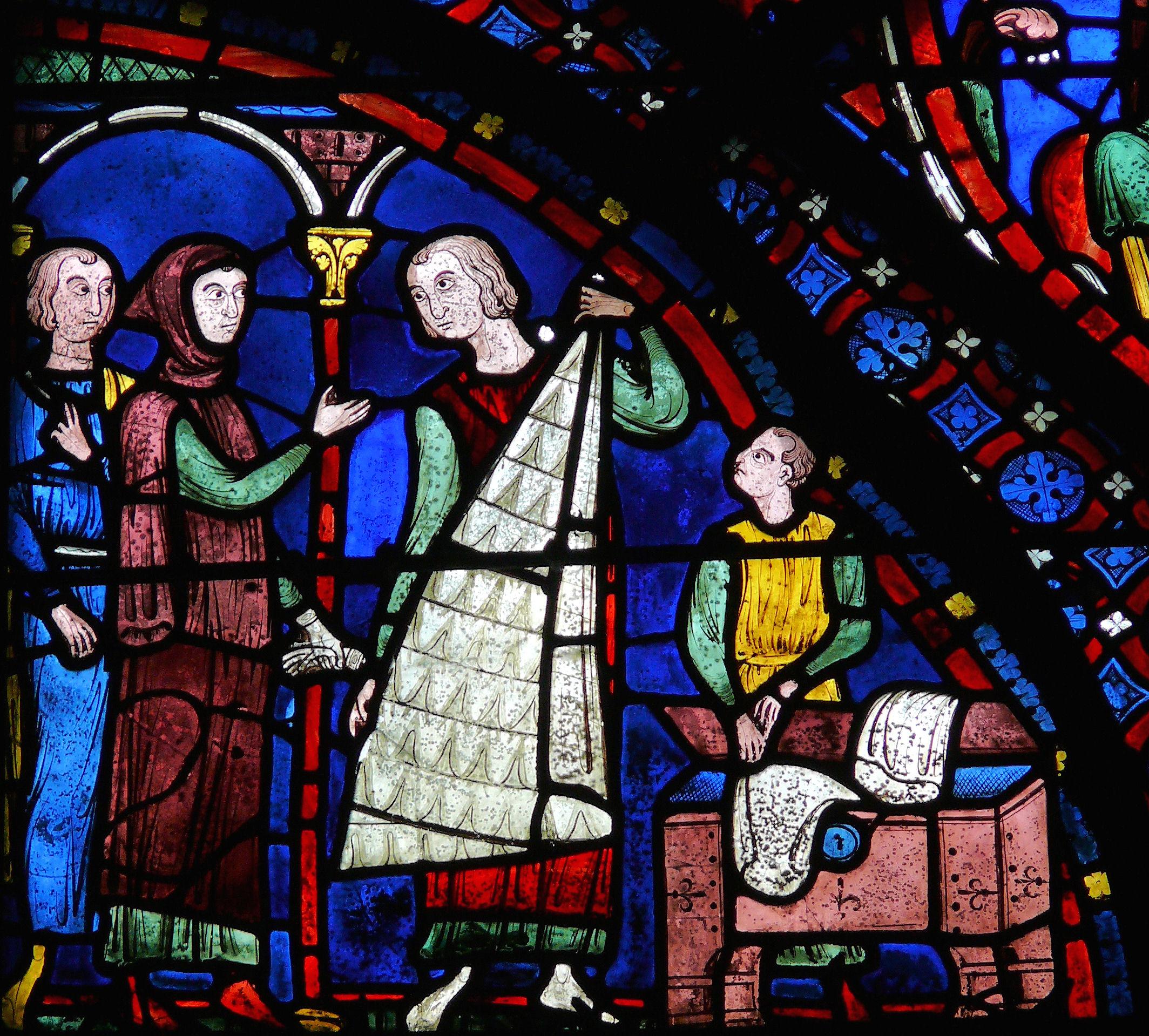 Chartres-Vitrail de l'Histoire de saint Jacques le Majeur-Fourreurs.JPG